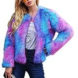 fancystar Womens Faux Fur Long Sleeve Coat, Fashionable Colorful Lapel Shaggy Outwear Autumn Winter Elegant Warm Jacket