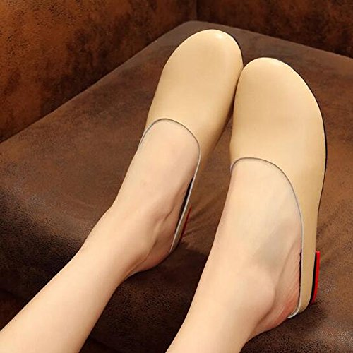 Off white Casual Leather Slipper On Womens Slip SUNROLAN Loafer Backless Shoes Scuff Outdoor Flats Mule pTOqW