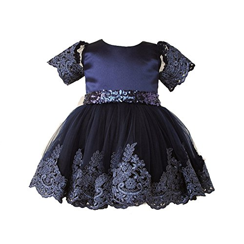 Merida's Little Brothers Costume (Uudora Baby Girl's Lace Embroidery Dress Gold Sequins Bow Belt Princess Skirt)