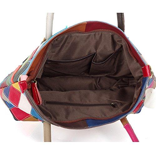 Leather Handbags Lattice Satchel Capacity Ladies Genuine color Bag Shoulder Tote Yjiujiu Bag Shopper Crossbody Stitching Multicolour Large Multi 4Ww7xEpnYB