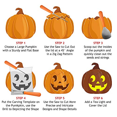 Halloween Pumpkin Carving Kit, BIG HOUSE Professional Jack-O-Lanterns Stainless Steel Carving Tools Set with 10Pcs Carving Templates, Scraper, Saw, Drill and Etching(4 Pieces, Yellow) by BIG HOUSE (Image #2)