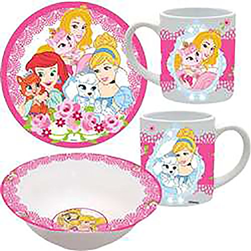[Disney Classic Princesses & Puppies Cute Baby Girl Porcelain Feeding Gift Set - Pink White] (Daisy Duck Costumes For Toddlers)