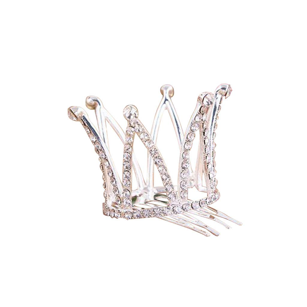 Aisence Crown comb Bridal Wedding Party Baby Rhinestone Full Circle Round Mini Crown Tiara Princess Crown