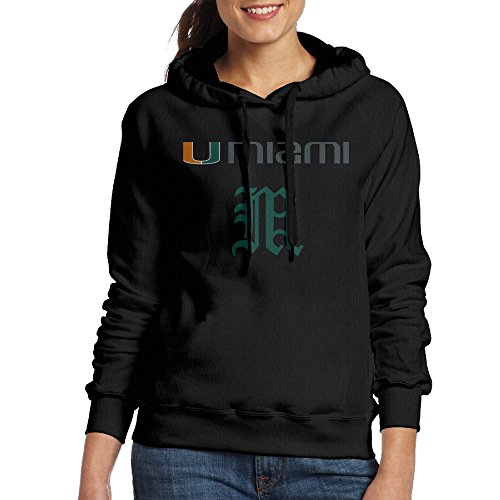 [JJVAT Women's Hooded Sweatshirt University Of Miami Hurricanes Size XL Black] (Assassins Creed Unity Costume Customization)