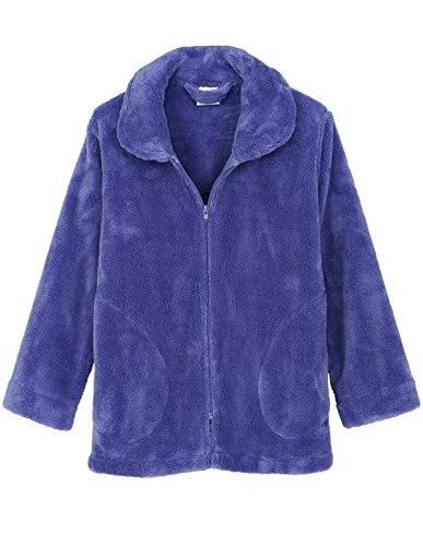 TowelSelections Women's Bed Jacket Zip Front Cardigan Fleece Robe Lounge Coverup Large Deep Periwinkle