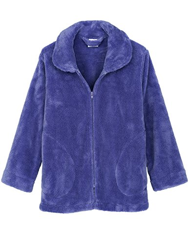TowelSelections Women's Bed Jacket Zip Front Cardigan Fleece Robe Lounge Coverup Small Deep Periwinkle (Flannel Robe Women Zipper)
