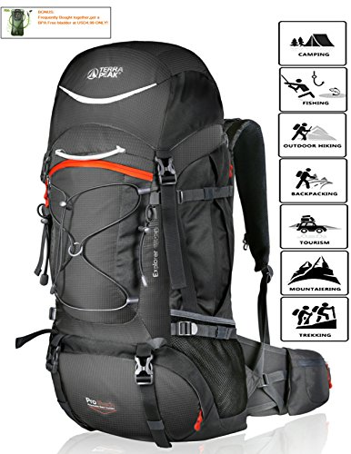 TERRA PEAK Adjustable Hiking Backpack 55L/65L/85L+20L for Men Women with Free Rain Cover Included Black Navy Green and Dark Grey (Graphite/Orange 85L+20L)