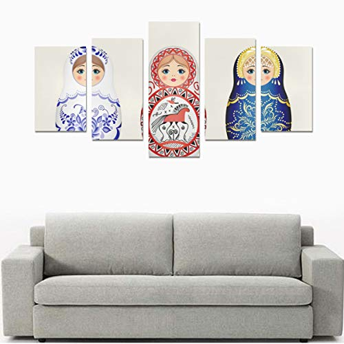 - HYTCSY Wall Art Print Wall Canvas Set of Russian Nesting Dolls No Frame 5 Pieces Paintings Posters Prints On Canvas Hang for Bedroom Home Office Wall Decor