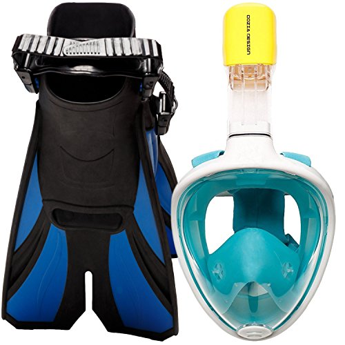 (cozia design Snorkel Set with Snorkel MASK - Swim FINS Included - Snorkel MASK Full FACE with Adjustable Flippers - 180° Panoramic View Full face Snorkel mask and Open Heel Snorkel fins)