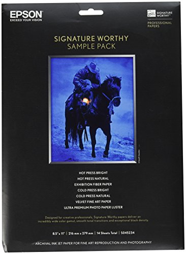 Epson Signature Worthy Paper Sample Pack, 8-1/2 x 11 Inches, Assorted Finishes, 14 Sheets/Pack (EPSS045234)
