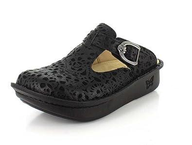 72b07a3871bd65 Alegria Women s Classic Black Delicut Leather Clogs   Mules 6 ...