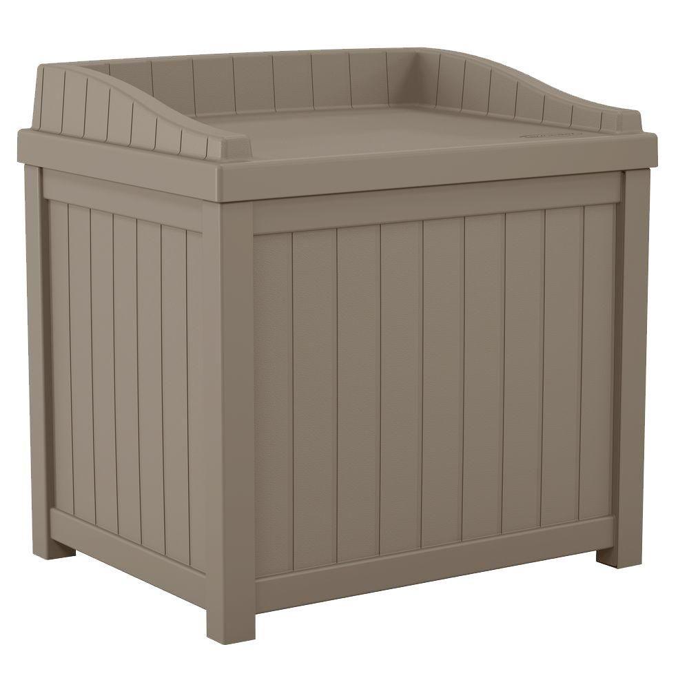 22 Gal. Small Storage Seat Patio Deck Box in Taupe Finish