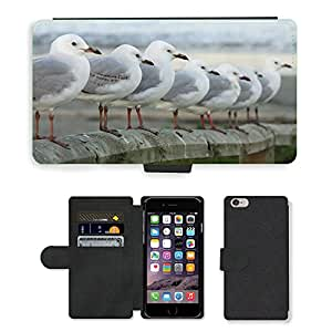 """GoGoMobile Flip PU Leather Wallet Case with Credit Card Slots // M00119446 Seagulls Row Perched Birds // Apple iPhone 6 PLUS 5.5"""""""