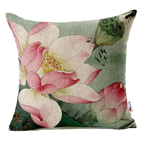 Lotus Cushion Cover - Monkeysell Lotus Leaf Butterfly Flowers Pattern Cotton Linen Throw Pillow Case Cushion Cover Home Sofa Decorative 18 X 18 Inch (S042B3)