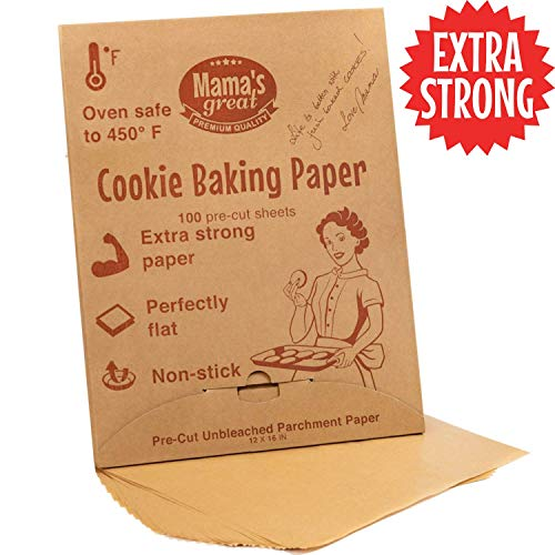 Extra Strong Unbleached Parchment Paper Sheets for Half Sheet Pans 12x16 (100 Pcs). Oven Baking Paper Sheets. Double Side Silicone Coated Precut Parchment Paper for Baking. Great Cookie Sheet Liner. ()