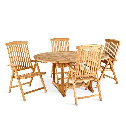 SAM® Teak-Holz Gartengruppe Borneo, 5 teilig, Garten-Möbel aus Massiv-Holz, 1 x Ausziehtisch, 4 x Hochlehner Aruba, Klapp-Stuhl mit Armlehnen aus Hartholz
