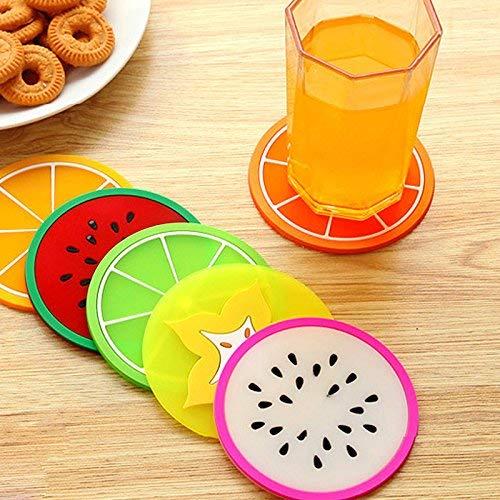 Zeagro Juego de 6 Posavasos de Silicona Coloridos con dise/ño de Frutas manteles Individuales de Color al Azar Bebidas para Tazas de t/é