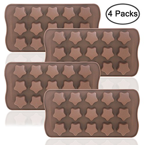 Stars Shaped Ice Tray, DaKuan 4 Packs Flexible Chocolate Molds, Reusable Stars Shaped Candy Making Molds, Food Grade Molds for Chocolate Molds, Homemade Soap - Brown (Star Chocolate Mold)