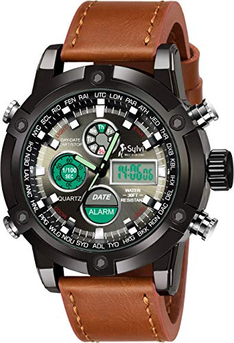 VILAM Analog Men #39;s Watch  Black Dial, Brown Colored Strap