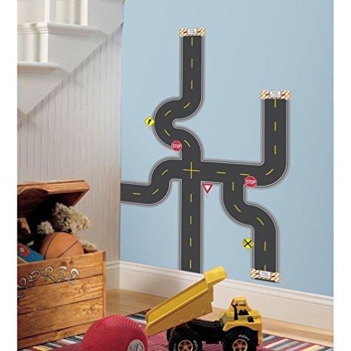 Lunarland BUILD A ROAD 30 BiG Wall Stickers Car Track Decals Room Decor Construction (Trucks Wall Border)