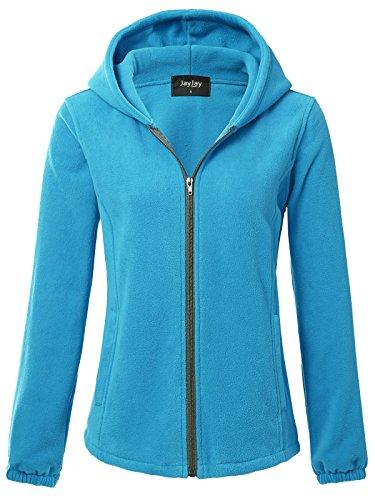 (JayJay Women Ultra Soft Fleece Long Sleeve Hoodie Jacket,SkyBlue,L)
