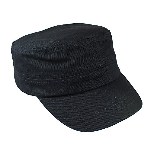 Gelante Cadet Caps 100% Breathable Cotton Plain Flat Top Twill Militray Style with Adjustable Strap. G005-BLK ()