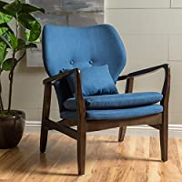 Teague Dark Espresso Wood with Dark Navy Fabric Club Chair