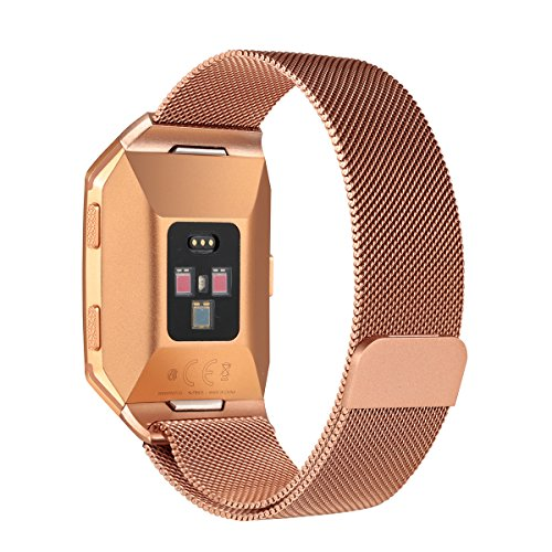 For Fitbit Ionic Bands, bayite Stainless Steel Milanese Loop Metal Replacement Strap with Unique Magnet Lock Accessories for Fitbit Ionic Small - Gold Orange