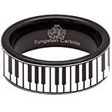 Black Tungsten Carbide Piano Keys Ring 8mm Wedding Band and Anniversary Ring for Men and Women Size 11