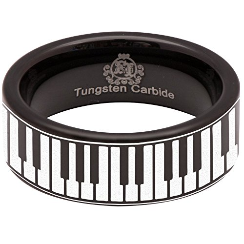 (Black Tungsten Carbide Piano Keys Ring 8mm Wedding Band and Anniversary Ring for Men and Women Size 6)