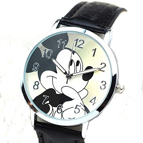Mickey Mouse on a Round Womens , Mens or Girls Black Leather Wrist Watch Watch Mickey Mouse Christmas