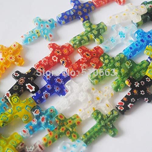 Calvas 30pcs/ Lot, Millefiori Glass Cross Shape Strings,New Fashion Jewelry Beads, Size: 17x25mm (Cross Glass Millefiori)