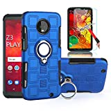 Moto Z3 Play Case,Moto Z3 Case with HD Screen Protector, EDSAM Dual Layer Shockproof Case with 360 Degree Rotating Ring Kickstand Fit Magnetic Car Mount for Motorola Moto Z3 Play/Moto Z3 (Blue)