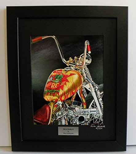 Indian Larry Rat Fink Bobber, Limited Edition Custom Framed Daddy-O Ratfink Motorcycle Art Print, Ed Big Daddy Roth Tribute, Signed Numbered w/ Certificate - Painting by John Guillemette (Fink Rat Posters)