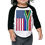 QPKMRTZTX0 Boys Girls Kids & Toddler South Africa and American Flag Long Sleeve Tees 100% Cotton