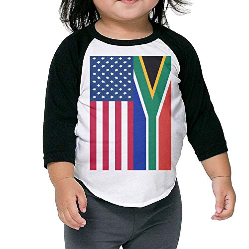 QPKMRTZTX0 Boys Girls Kids & Toddler South Africa and American Flag Long Sleeve Tees 100% Cotton by QPKMRTZTX0