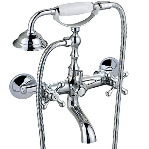 8 Center Kit Faucet - Vintage Wall Mount Clawfoot Tub Faucet 3-9Inch Adjustable Center Polished Chrome 2 Double Handle Shower Faucet System Telephone Shape