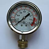Malida Water Pressure Gauge Stainless For Aquarium Meter 0-1.6MPa 0-220psi Reverse Osmosis System Pump With 1/2