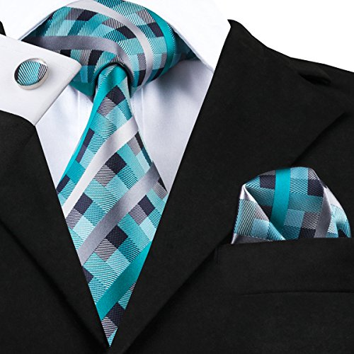 Hi-Tie Men's Plaid Check Tie Woven Jacquard Silk Necktie Pocket Square Cufflinks Set Gift Box - http://coolthings.us