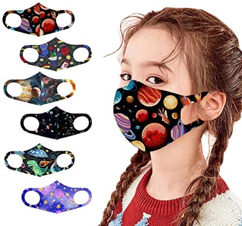6 Pack kids Planet Cartoon Print Cotton Face Bandanas Fashion Protective,Reusable and Breathable Washable Comfortable Face cotton fabric for Boys Girls for School Outdoor.
