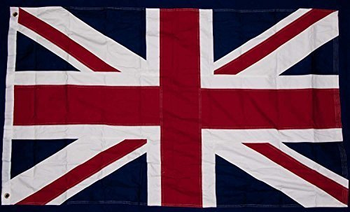 (BRITISH UNION JACK FLAG 3 FT X 5 FT 100% COTTON & EMBROIDERED PATCH COMBO UK Great Britain British Empire by United Kingdom)