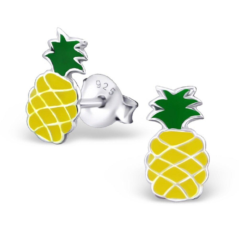 925 Sterling Silver Yellow Pineapple Stud Earrings 18663