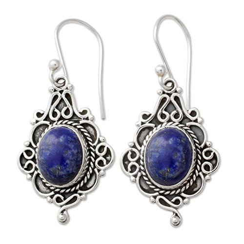 NOVICA Lapis Lazuli .925 Sterling Silver Oval Dangle Hook Earrings 'Sky Symphony'