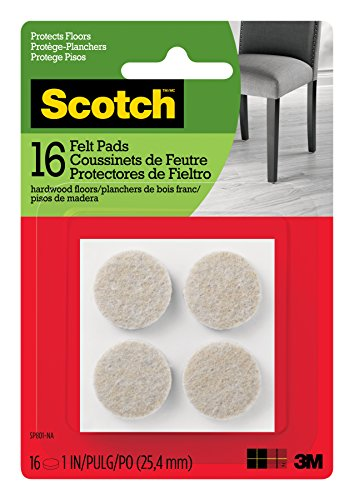 Scotch Felt Pads, Round, Beige, 1-Inch Diameter, 16 Pads/Pack (SP801-NA)