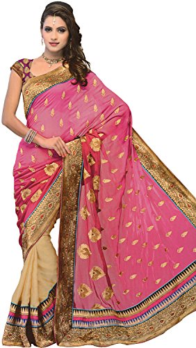 3719a9b6dd Exotic India Magenta-Haze Sari with Patch Border and Embroidered Bootis -  Pink