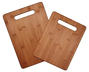 Totally Bamboo 2 Piece Cutting Board Set, 100% Bamboo For Food Prep, Making Cocktails or Serving Appetizers