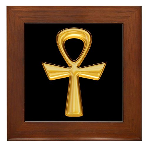 Framed Tile Egyptian Gold Ankh Black (Tile Tattoo Framed)
