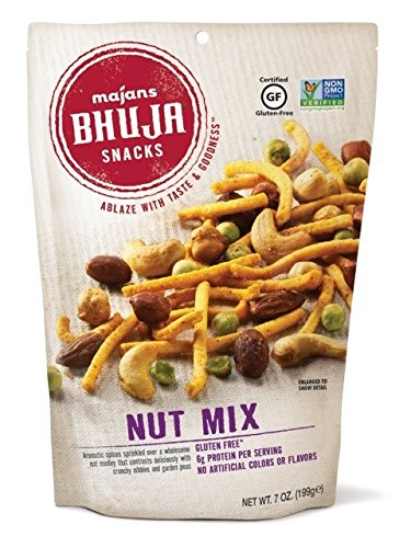 Majans Bhuja Gluten Free Snack Mix, Non-GMO | No Preservatives | Vegetarian Friendly | No Artificial Colors or Flavors, Nut Mix, 7 Ounce (Pack of 6) (Mix Nut Bhuja)