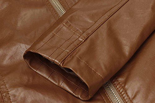 HOTOUCH Womens Faux Leather Zip Up Moto Biker Jacket Coffee M by Hotouch (Image #8)