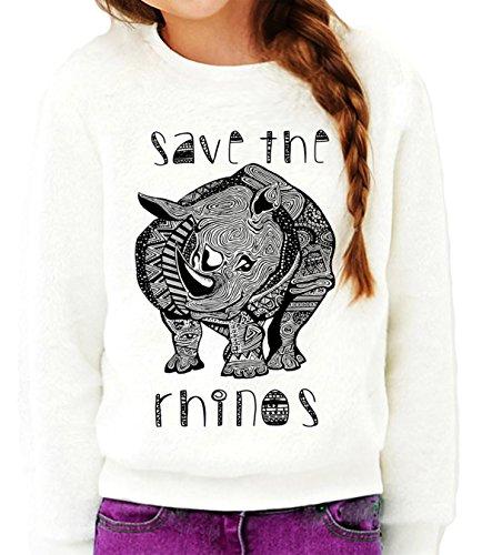 Queen Apparel-Save the rhinos-sweatshirt Eco Friendly- (X-Small)